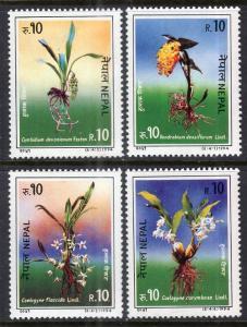 Nepal 550a-550d Flowers Singles MNH VF
