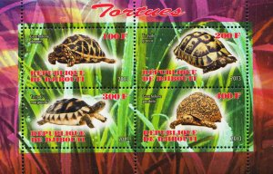 Djibouti Turtles Reptile Souvenir Sheet of 4 Stamps Mint NH