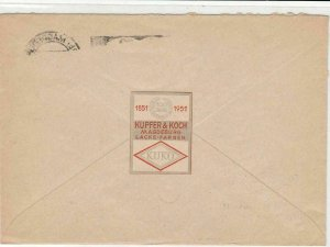 Germany 1951 Kupfer & Kock Stamps Cover with Sealing Stamp on back ref R 19338