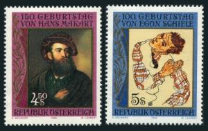 Austria 1504-1505,MNH.Michel 1991-1992. Hans Makart,Egon Schiele,1990.Portraits.