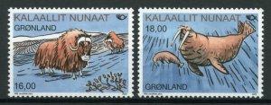 Greenland Wild Animals Stamps 2020 MNH Mammals Norden Walrus Muskox Ox 2v Set