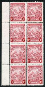 Barbados SG249a 1d scarlet perf 14 Re-Entry 9/2 U/M The Key Stamp in the Set