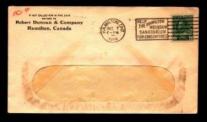 Canada 1914 Robert Duncan Co Hamilton Cnr Card Cover - L12206