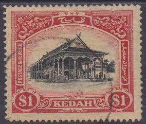 KEDAH 1921 PICTORIAL $1 WMK MULTI SCRIPT CA CROWN TO RIGHT OF CA USED
