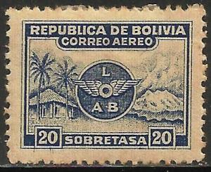 Bolivia Air Mail 1952 Scott# C9 MH (toning)