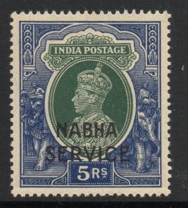 INDIA-NABHA SGO68 1942 5r GREEN & BLUE MNH