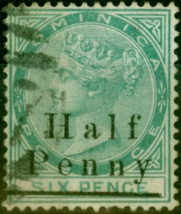 Dominica 1886 1/2d on 6d Green SG17 Fine Used
