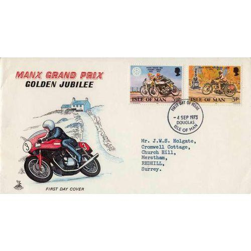 First Day Cover 4th September 1973 Manx Grand Prix Golden Jubilee
