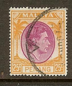 Malaya-Penang, Scott #16, 25c King George VI, Used