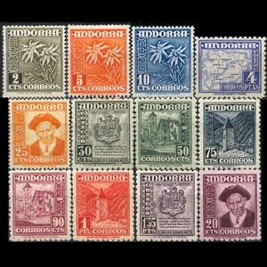 ANDORRA SP. 1951 - Scott# 37-48 Flora etc. 2c-4p NH
