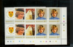 BARBADOS Sc#585-588 Complete Mint Never Hinged PLATE BLOCK Set