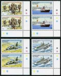 Falkland Is SG454-7 First Anniversary of Liberation in Cylinder Pairs U/M