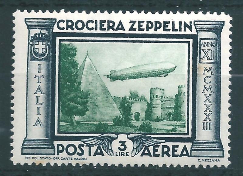 IITALY : T051  -  1933 air mail ZEPPELIN 3 L. - very leight hinged