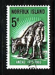 Norfolk Is.-Sc#69- id5-used 5c Donkey-Paintings-1965-