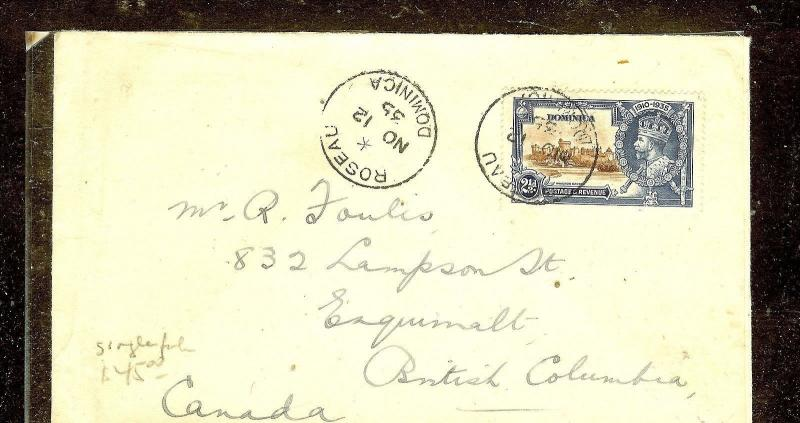 DOMINICA (P2110B)  SILVER JUBILEE 2 1/2D SINGLE FRANK TO CANADA