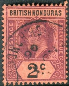 BRITISH HONDURAS-1906 2c Purple & Black/Red DAMAGED FRAME & CROWN.  FU Sg 85ab