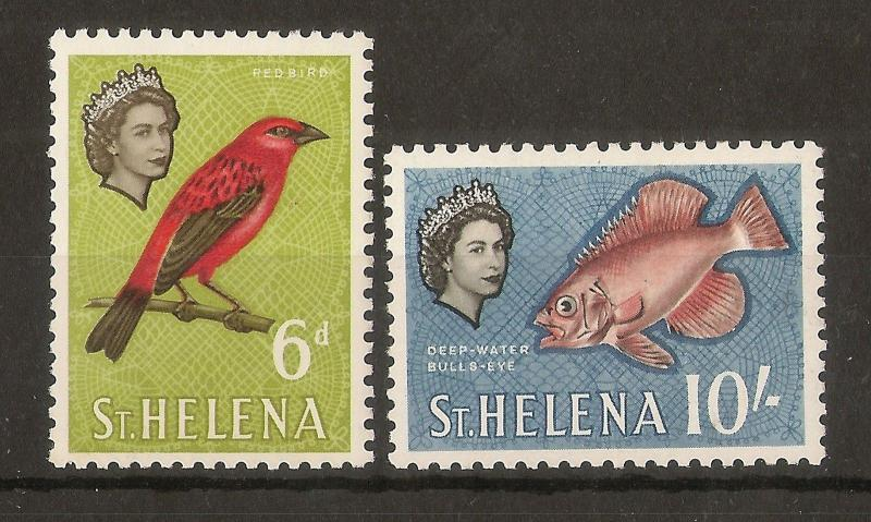 St Helena 1961 6d + 10/- Mint Cat£18