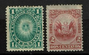 Peru SC# 30 and 31, Mint Hinged, Hinge Rems, 30 sm, shallow top/ctr thin -S11754