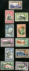Ceylon Stamps # 264-74 Used XF