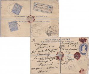 India 3a KGV (2) on 2a+1/2a KGV Registration Envelope 1926 Singareni Collerie...