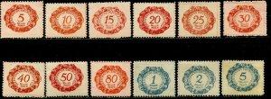 LIECHTENSTEIN Sc#J1-J12 1920 First Postage Dues Complete Set OG Mint Hinged (1d)