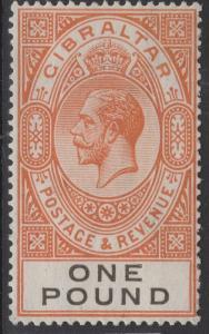 GIBRALTAR SG107 1927 £1 RED-ORANGE & BLACK MTD MINT