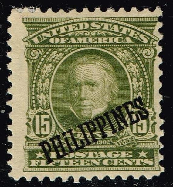 Philippines Stamp  #235 OVPT ON US 15C OLIVE 1903-04  MH/OG thin spot