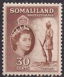 Somaliland 1953 - 58 QE2 30 ct Reddish Brown MM SG 141 ( R1049 )