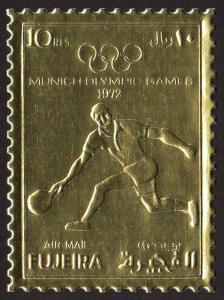 Fujeira Mi #1280A  mnh - 1972 Summer Olympics Munich - tennis - perf - gold foil