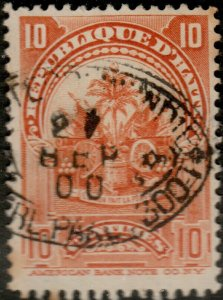 HAÏTI - 1900 Mi.54 10c orange-red Arms used DUTCH SHIP CANCEL