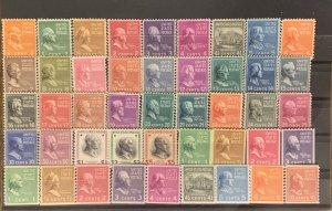 Scott #803-834 & 839-851. Mint NH. 1938 Presidential Series.