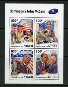 NIGER 2018 TRIBUTE TO JOHN McCAIN WITH PRES. OBAMA SHEET MINT NH