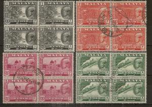 Kedah 1939 Halim Shah Fine Used Blocks Cat£25+