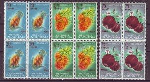 J25127 JLstamps 1961 indonesia blk/4 set mnh #b135-7 fruits