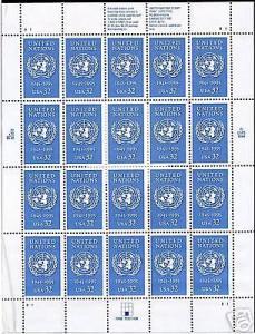 UNITED STATES 50TH ANNIVERSARY UN  SHEET SCOTT#2974