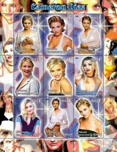 Congo - 2005 - Cameron Diaz on Stamps - 9 Stamp Sheet  - CON118-06