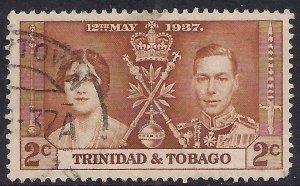 Trinidad & Tobago 1937 KGV1 2ct Yellow Brown Coronation SG 244 ( 1132 )