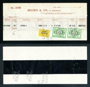 Stock memorandum Belden & Co. with US and NY revenues dated 9-19-1939