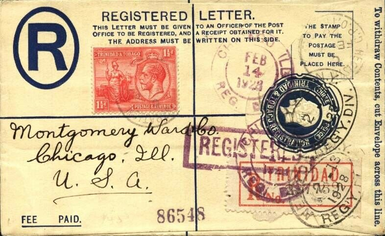 TRINIDAD 1928 3d registered envelope uprated used to USA...................91814