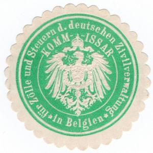 (I.B-CK) Germany (Great War) Cinderella : Customs Commissar Seal (Belgium)