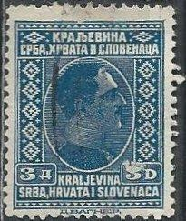 Yugoslavia 45 (used, scuff mark) 3d King Alexander, slate blue (1926)