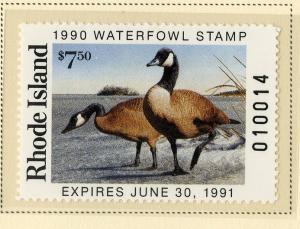 US RI2 RHODE ISLAND STATE DUCK STAMP 1990 MNH SCV $12.00 BIN $6.00