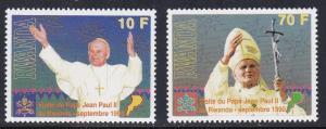 Rwanda # 1353-1354, Pope Jean Paul II, NH, 1/3 Cat