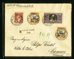 Vatican 1933 Registered First Day Cover 4 Backstamps