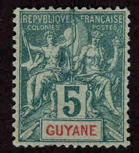 French Guiana Scott 35 MH* nicely centered Navigation and Commerce stamp
