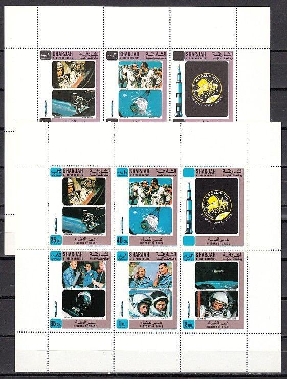 Sharjah, Mi cat. 686-695 A. #2 History of Space, on 2 sheets.