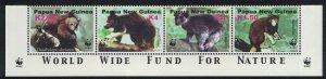 Papua NG WWF Tree-kangaroos Bottom strip of 4v 2003 MNH SG#989-992