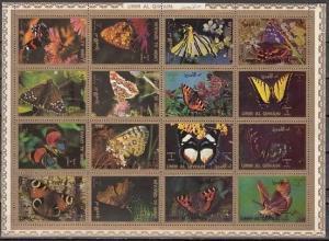 Umm Al Qiwain, Mi cat. 1498-1513 A. Butterflies on a sheet of 16.