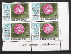 Maldive Islands #464 Meteorological Plate Block MNH