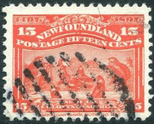 NEWFOUNDLAND-1897 15c Bright Scarlet Sg 75 GOOD USED V28982